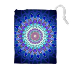 Power Flower Mandala   Blue Cyan Violet Drawstring Pouches (Extra Large)