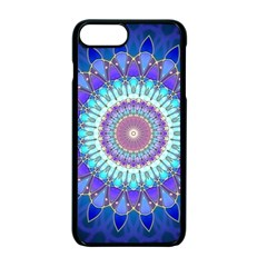 Power Flower Mandala   Blue Cyan Violet Apple Iphone 7 Plus Seamless Case (black)