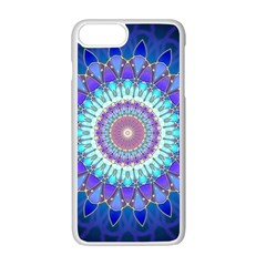 Power Flower Mandala   Blue Cyan Violet Apple Iphone 7 Plus White Seamless Case