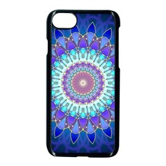 Power Flower Mandala   Blue Cyan Violet Apple iPhone 7 Seamless Case (Black)