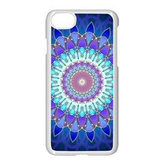 Power Flower Mandala   Blue Cyan Violet Apple Iphone 7 Seamless Case (white)
