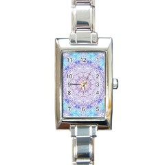India Mehndi Style Mandala   Cyan Lilac Rectangle Italian Charm Watch