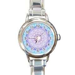 India Mehndi Style Mandala   Cyan Lilac Round Italian Charm Watch