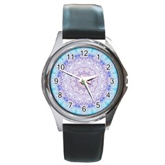 India Mehndi Style Mandala   Cyan Lilac Round Metal Watch