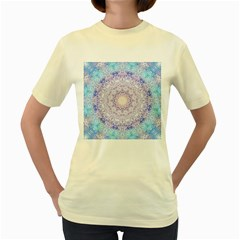 India Mehndi Style Mandala   Cyan Lilac Women s Yellow T-Shirt