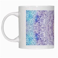 India Mehndi Style Mandala   Cyan Lilac White Mugs