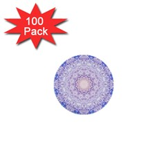 India Mehndi Style Mandala   Cyan Lilac 1  Mini Buttons (100 pack)