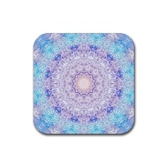 India Mehndi Style Mandala   Cyan Lilac Rubber Square Coaster (4 pack)