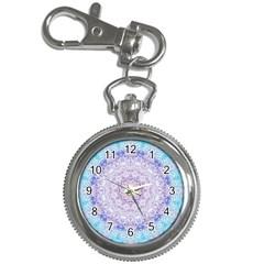 India Mehndi Style Mandala   Cyan Lilac Key Chain Watches