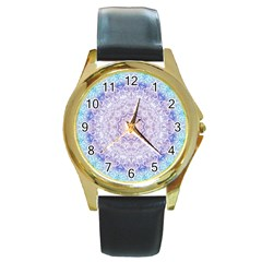 India Mehndi Style Mandala   Cyan Lilac Round Gold Metal Watch