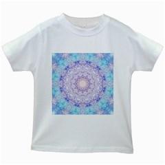 India Mehndi Style Mandala   Cyan Lilac Kids White T-Shirts