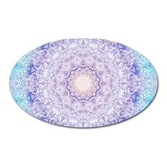India Mehndi Style Mandala   Cyan Lilac Oval Magnet