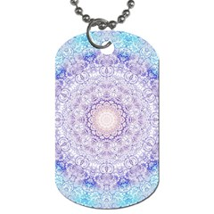 India Mehndi Style Mandala   Cyan Lilac Dog Tag (One Side)
