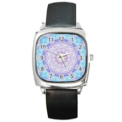 India Mehndi Style Mandala   Cyan Lilac Square Metal Watch
