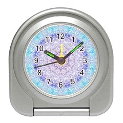 India Mehndi Style Mandala   Cyan Lilac Travel Alarm Clocks