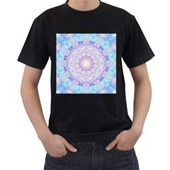 India Mehndi Style Mandala   Cyan Lilac Men s T-Shirt (Black) (Two Sided)