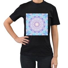 India Mehndi Style Mandala   Cyan Lilac Women s T-Shirt (Black) (Two Sided)