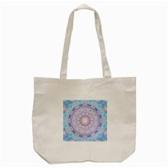 India Mehndi Style Mandala   Cyan Lilac Tote Bag (Cream)
