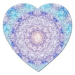 India Mehndi Style Mandala   Cyan Lilac Jigsaw Puzzle (Heart)