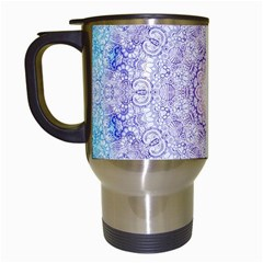 India Mehndi Style Mandala   Cyan Lilac Travel Mugs (White)