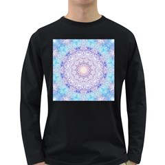 India Mehndi Style Mandala   Cyan Lilac Long Sleeve Dark T-Shirts