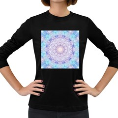 India Mehndi Style Mandala   Cyan Lilac Women s Long Sleeve Dark T-Shirts