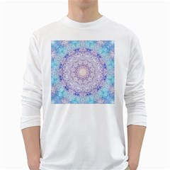 India Mehndi Style Mandala   Cyan Lilac White Long Sleeve T-Shirts