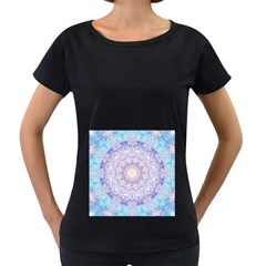 India Mehndi Style Mandala   Cyan Lilac Women s Loose-Fit T-Shirt (Black)