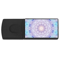 India Mehndi Style Mandala   Cyan Lilac USB Flash Drive Rectangular (4 GB)