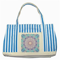India Mehndi Style Mandala   Cyan Lilac Striped Blue Tote Bag