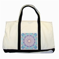 India Mehndi Style Mandala   Cyan Lilac Two Tone Tote Bag