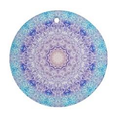 India Mehndi Style Mandala   Cyan Lilac Round Ornament (Two Sides)