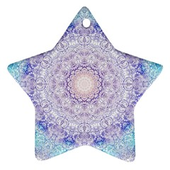 India Mehndi Style Mandala   Cyan Lilac Star Ornament (Two Sides)