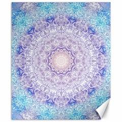 India Mehndi Style Mandala   Cyan Lilac Canvas 8  x 10