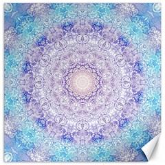 India Mehndi Style Mandala   Cyan Lilac Canvas 20  x 20