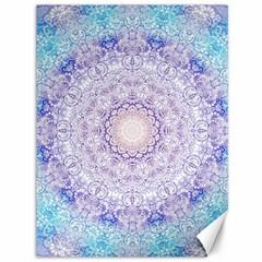 India Mehndi Style Mandala   Cyan Lilac Canvas 36  x 48