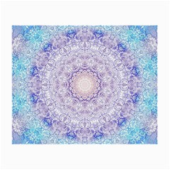India Mehndi Style Mandala   Cyan Lilac Small Glasses Cloth (2-Side)