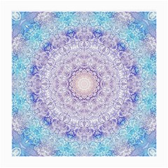India Mehndi Style Mandala   Cyan Lilac Medium Glasses Cloth (2-Side)
