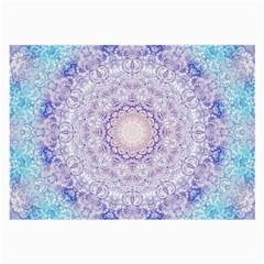 India Mehndi Style Mandala   Cyan Lilac Large Glasses Cloth