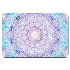India Mehndi Style Mandala   Cyan Lilac Large Doormat