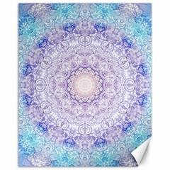 India Mehndi Style Mandala   Cyan Lilac Canvas 11  x 14