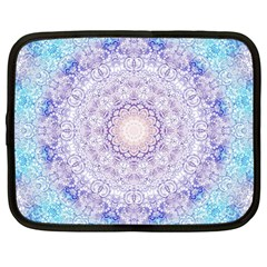 India Mehndi Style Mandala   Cyan Lilac Netbook Case (Large)