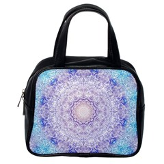India Mehndi Style Mandala   Cyan Lilac Classic Handbags (One Side)