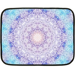 India Mehndi Style Mandala   Cyan Lilac Double Sided Fleece Blanket (Mini)