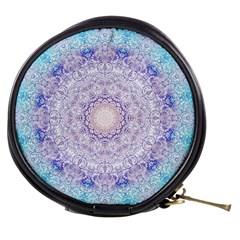 India Mehndi Style Mandala   Cyan Lilac Mini Makeup Bags