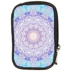India Mehndi Style Mandala   Cyan Lilac Compact Camera Cases