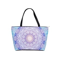 India Mehndi Style Mandala   Cyan Lilac Shoulder Handbags