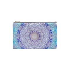 India Mehndi Style Mandala   Cyan Lilac Cosmetic Bag (Small)