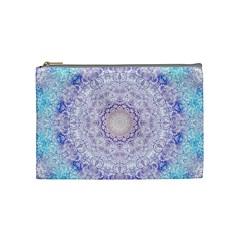 India Mehndi Style Mandala   Cyan Lilac Cosmetic Bag (Medium)