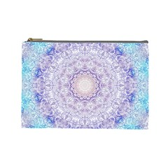 India Mehndi Style Mandala   Cyan Lilac Cosmetic Bag (Large)